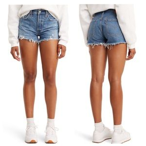 Levi's 501 Hi-Rise Distressed Cut Off Jean Shorts